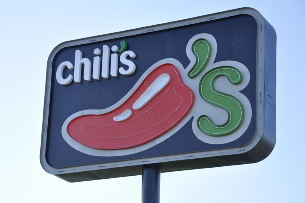 chilis neon open face cabinet sign