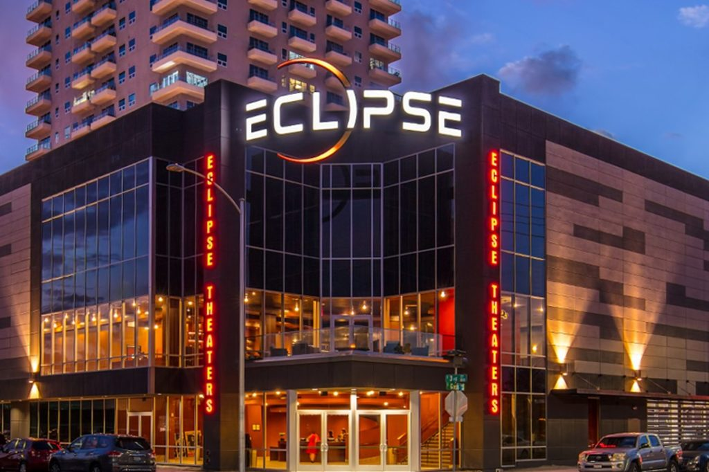 eclipse theater custom signage at night