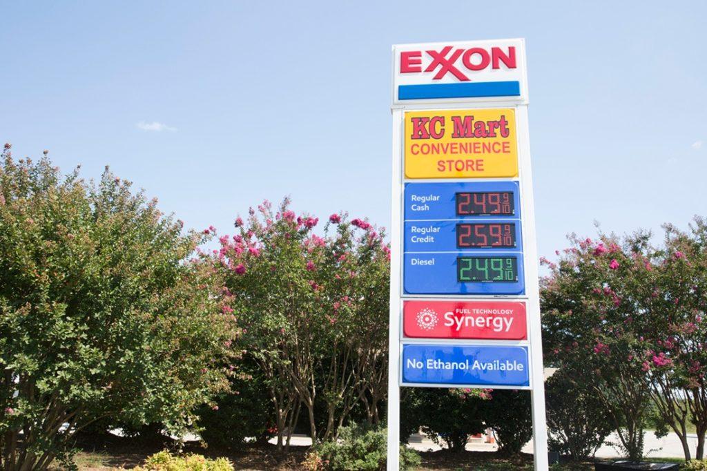 exxon led price sign daytime