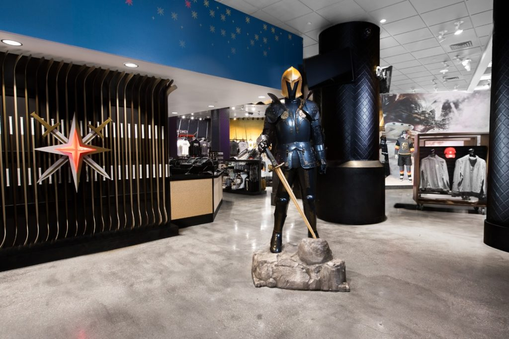 golden knights interior with knight armor