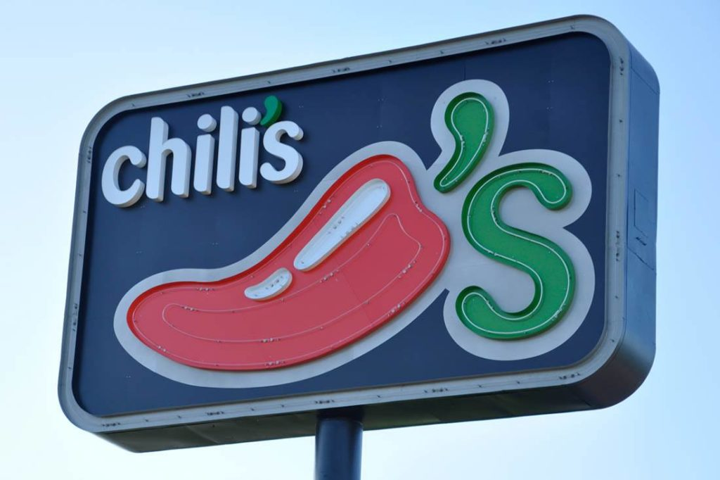 Chili's neon open face Cabinet Sign