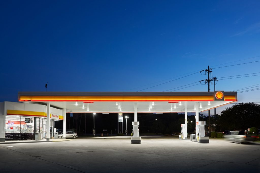 shell canopy at night