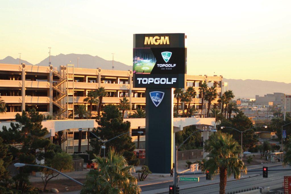 topgolf digital pylon signage