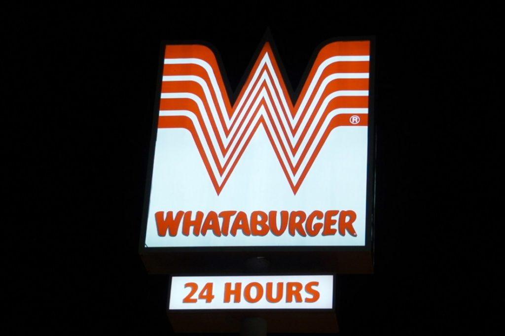 whataburger pylon sign at night