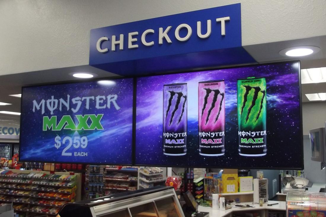zippy j's energy drink digital signage