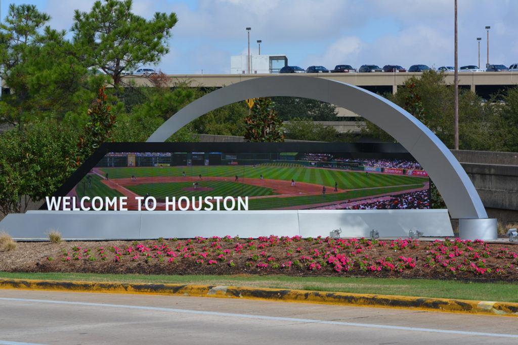 custom Houston Sign with Screen