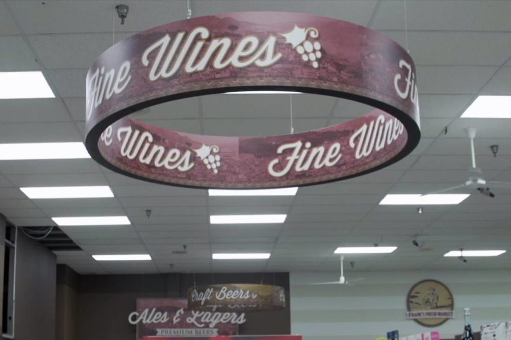piggly wiggly hanging circular interior printed graphic