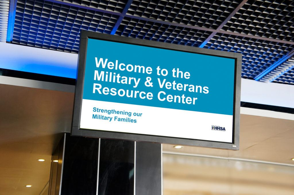 county of san diego military resource center close up digital signage