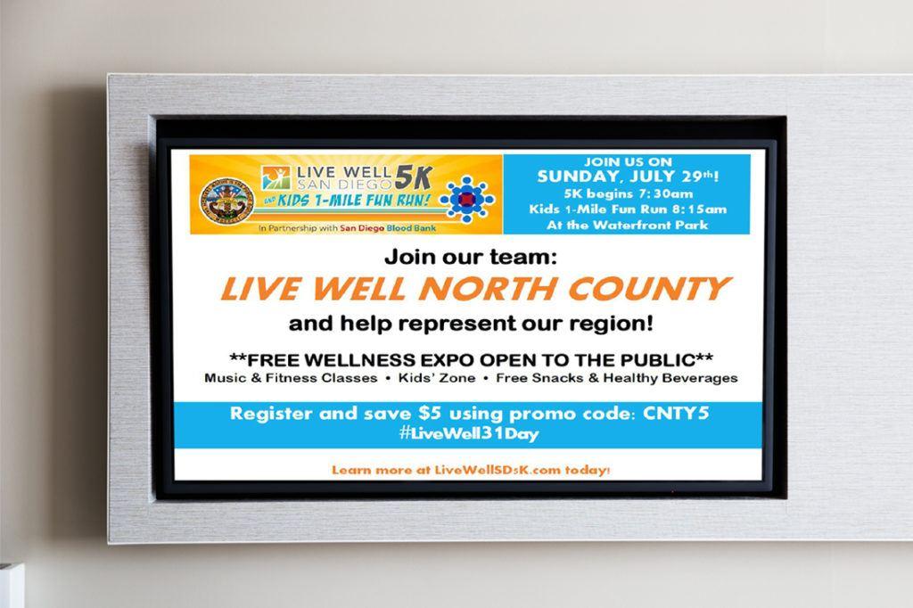 county of san diego 5k run digital signage