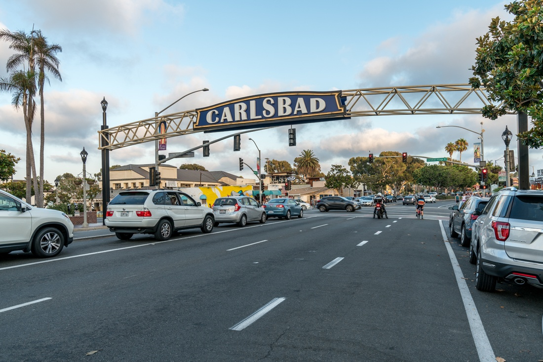Shot of carlsbad archway from street