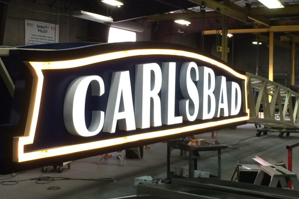 Carlsbad archway sign in shop