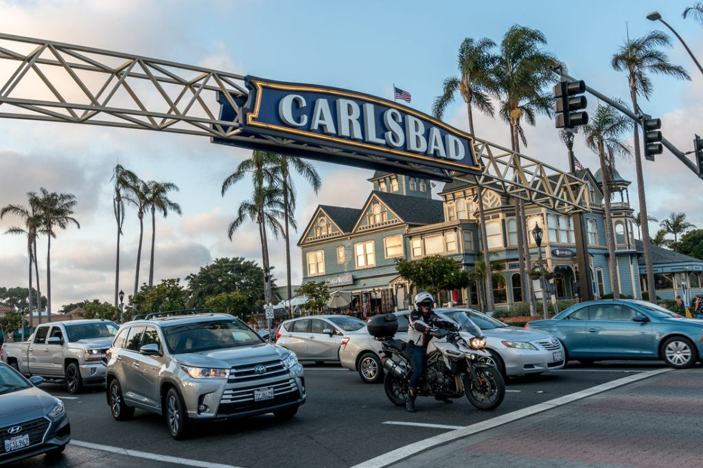 Photo of Carlsbad Archway sign shot from the street