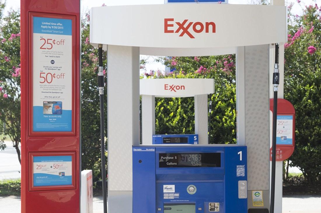 Closeup of Exxon dispenser graphics