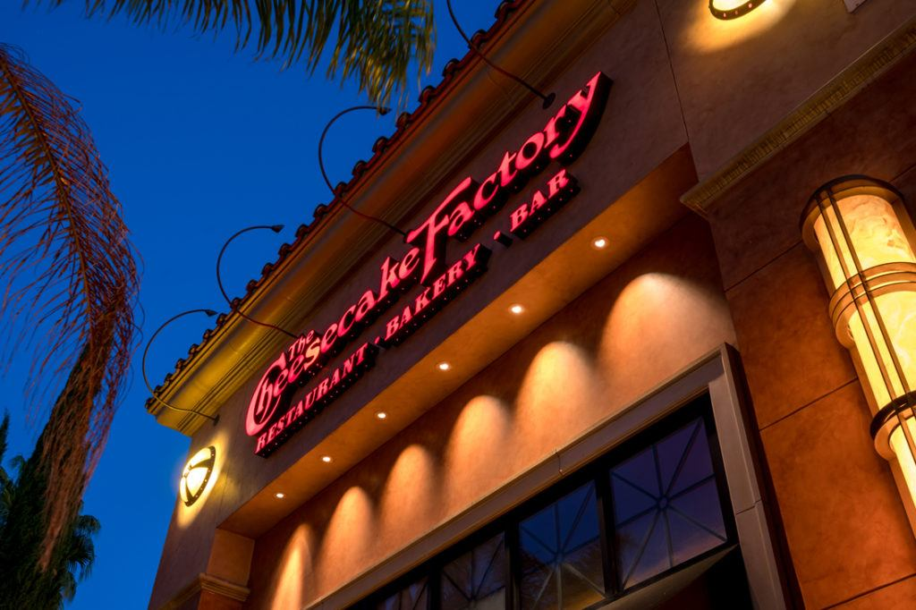 Cheesecake Factory channel letters at night