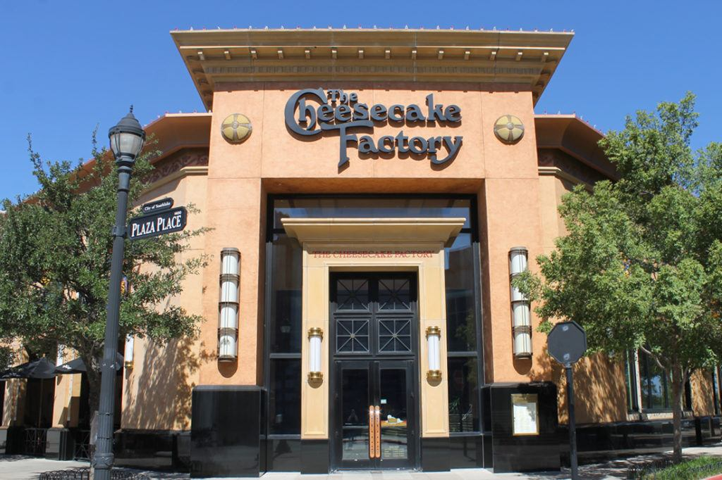 Cheesecake Factory channel letters on front of building