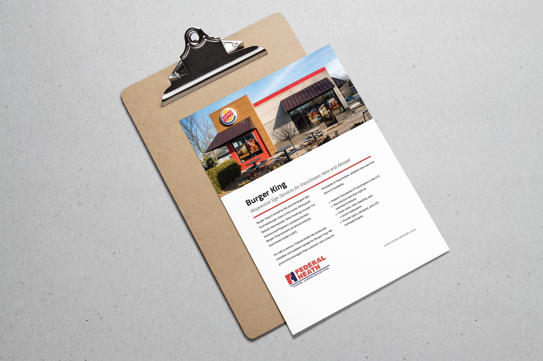 burger king case study on a clipboard