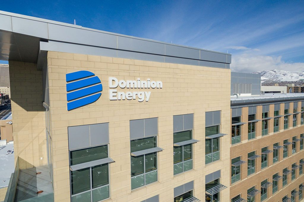 dominion energy corporate high rise signage