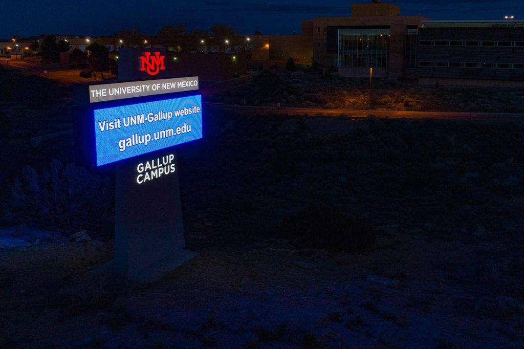 university of new mexico digital signage at night