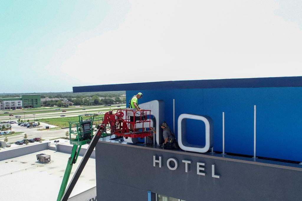 aloft channel letters installation