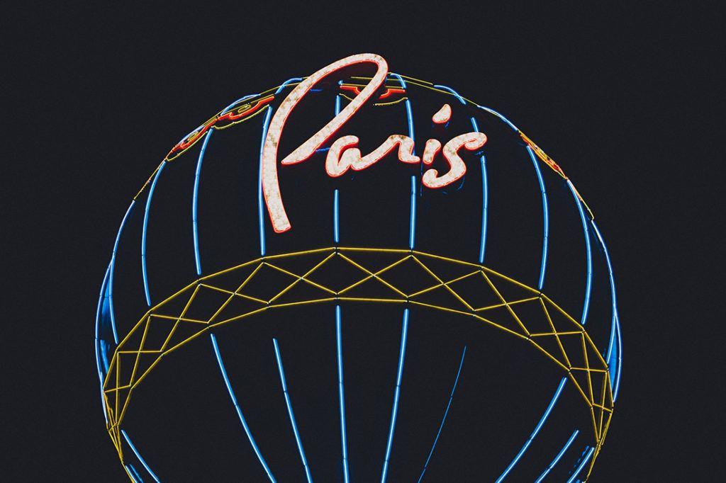 paris las vegas balloon at night