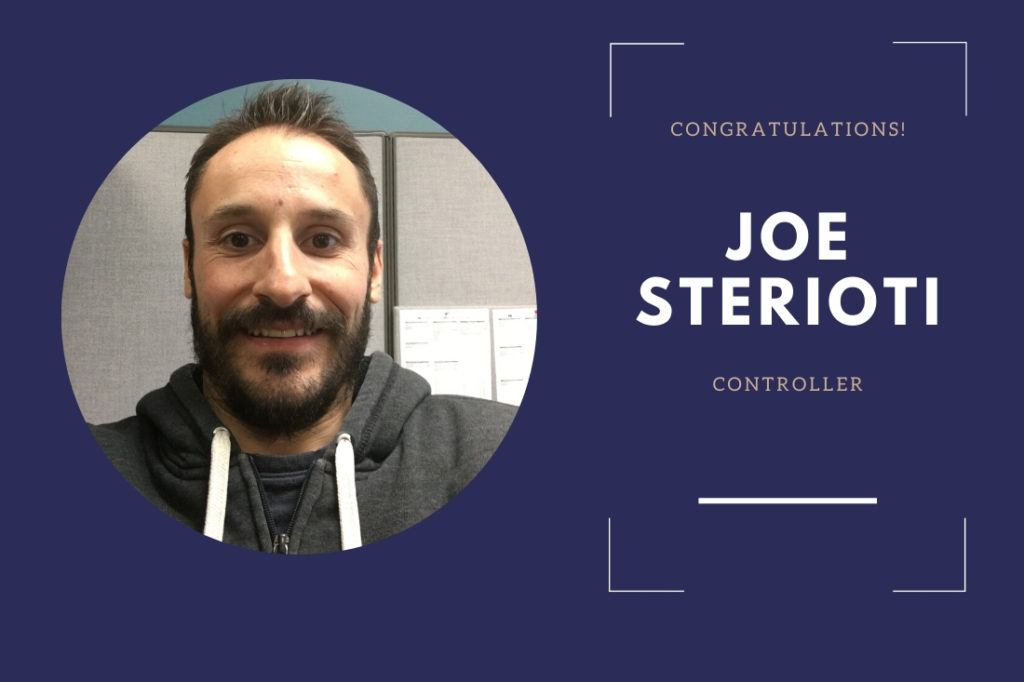 Joe Sterioti promoted to Controller.