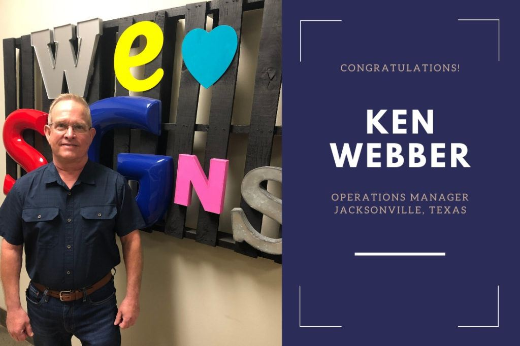 Ken Webber, new Operations Manager in Jacksonville, Texas.