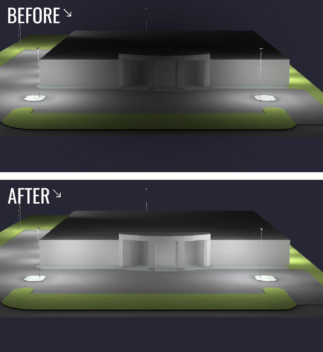 before and after rendering